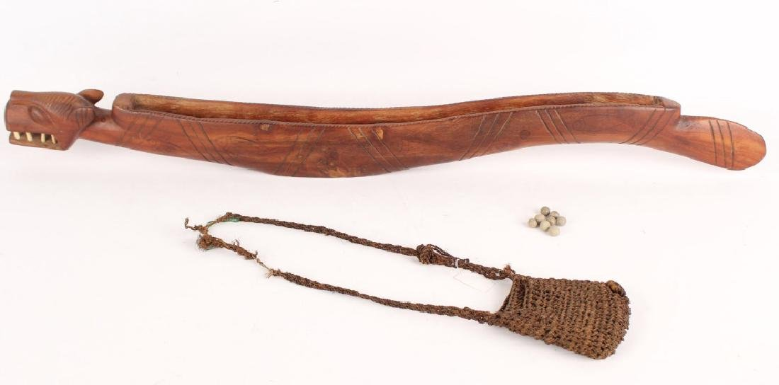 NORTHWEST INDIAN WOOD SERPENT & CLAY MARBLE GAME