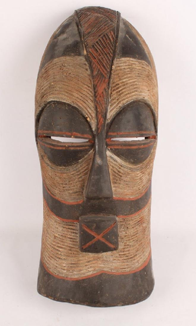 AFRICAN SONGYE TRIBE KIFWEBE WOODEN PAINTED MASK
