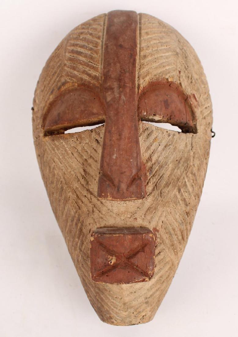 AFRICAN SONGYE TRIBE KIFWEBE WOODEN PAINTED MASK