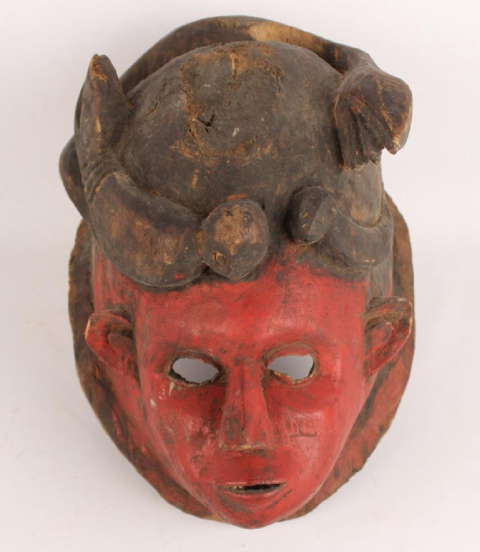NIGERAN WOOD CARVED IGALA PAINTED MARRIAGE MASK
