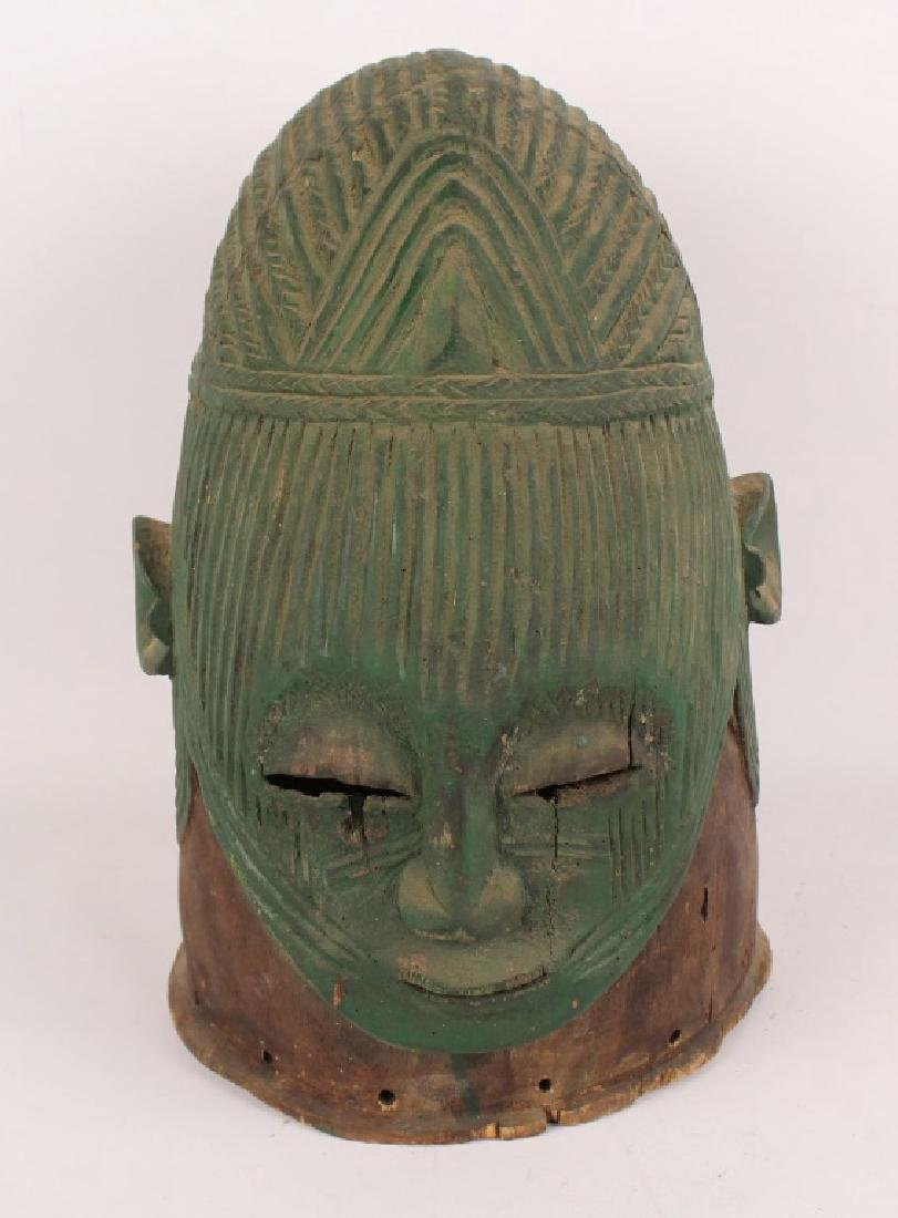 AFRICAN IGALA WOOD CARVED PAINTED EGU CULT MASK