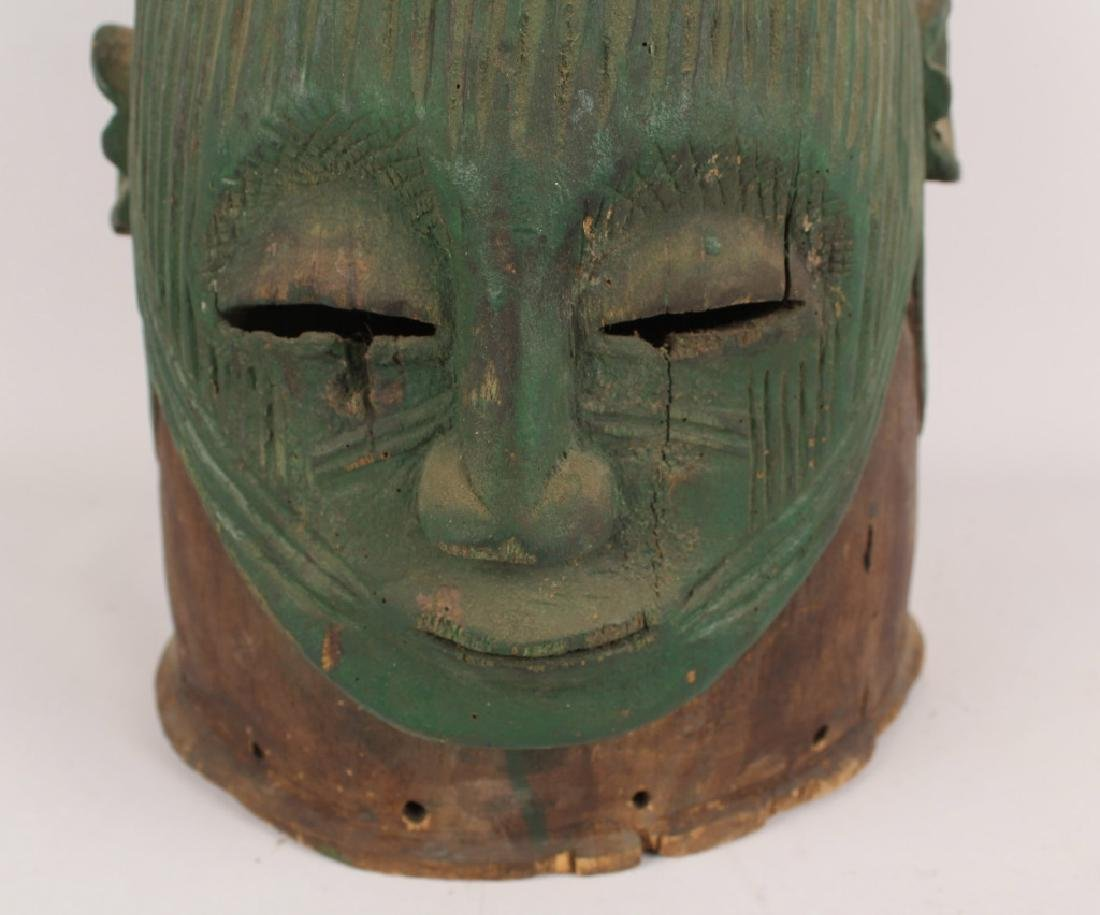 AFRICAN IGALA WOOD CARVED PAINTED EGU CULT MASK - 2