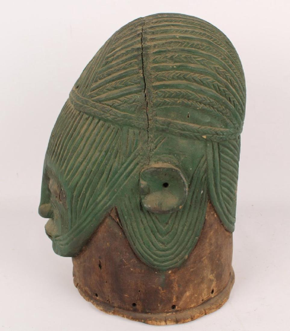 AFRICAN IGALA WOOD CARVED PAINTED EGU CULT MASK - 3