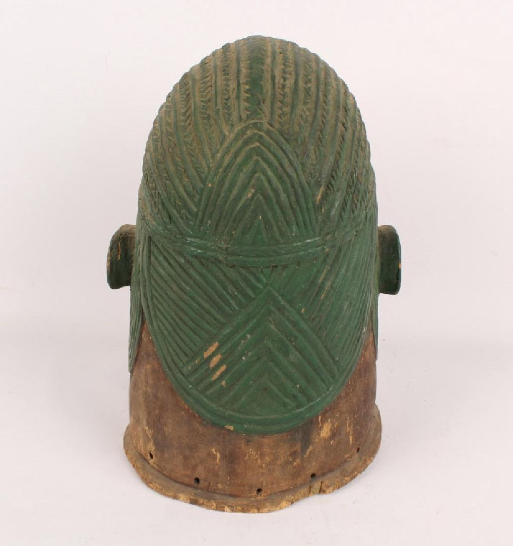 AFRICAN IGALA WOOD CARVED PAINTED EGU CULT MASK - 4