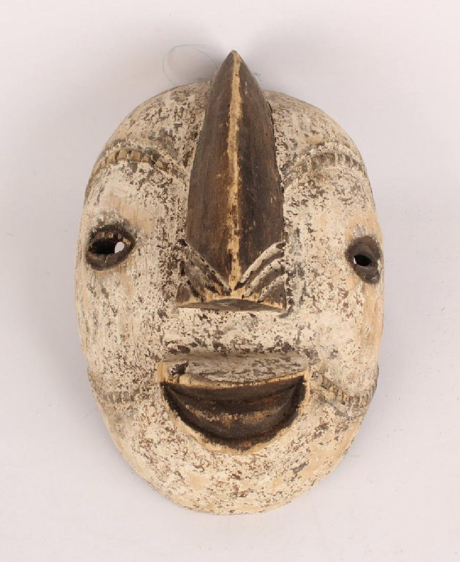 AFRICAN PUNU TRIBE WOOD CARVED PAINTED MASK