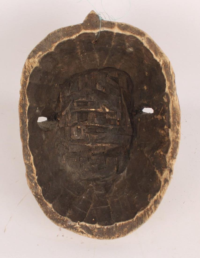 AFRICAN PUNU TRIBE WOOD CARVED PAINTED MASK - 2