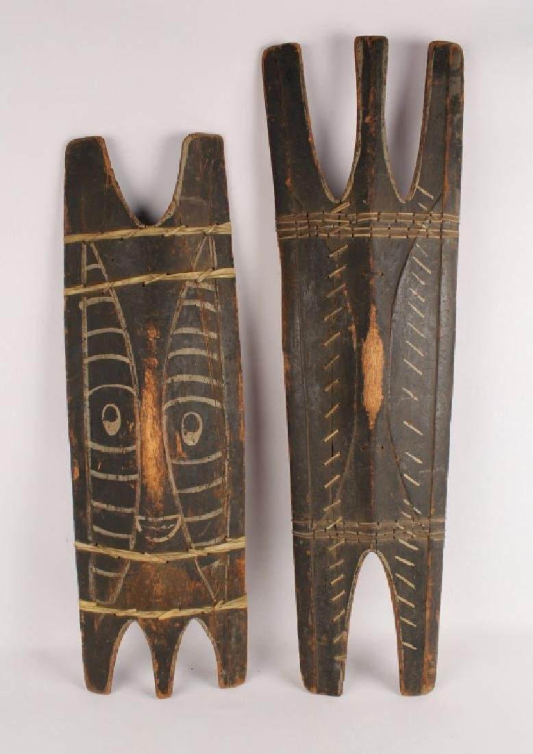 2 LARGE AFRICAN PAINTED WOODEN SHIELDS