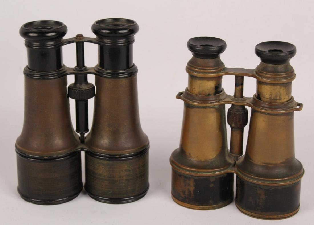 2 PAIRS OF BRASS BINOCULARS L. PETIT FABT FRENCH