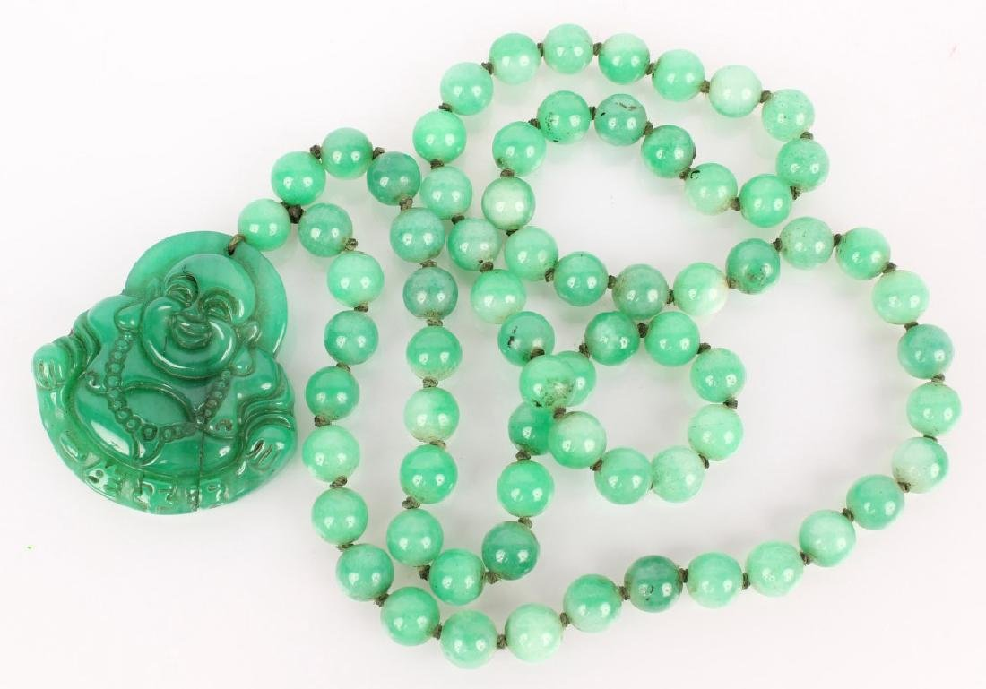 2 CHINESE CARVED GREEN & BROWN JADE BEAD NECKLACES - 2