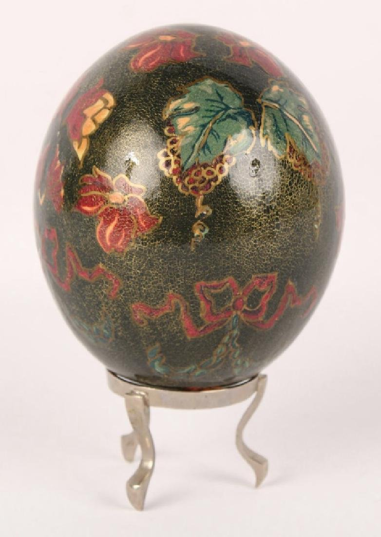 PAINTED OSTRICH EGG WITH STAND
