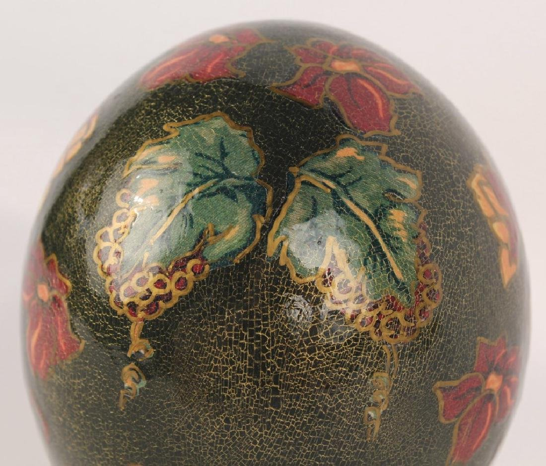 PAINTED OSTRICH EGG WITH STAND - 2