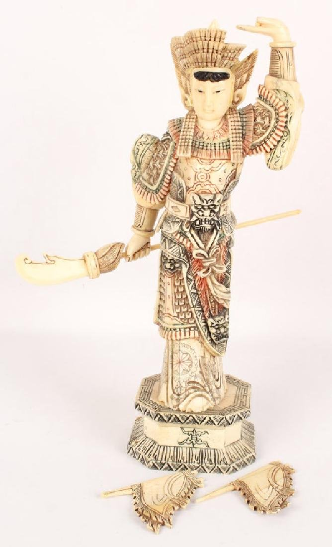 CHINESE BONE OVER WOOD HUA MULAN STATUETTE