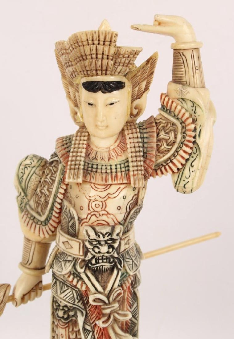 CHINESE BONE OVER WOOD HUA MULAN STATUETTE - 2