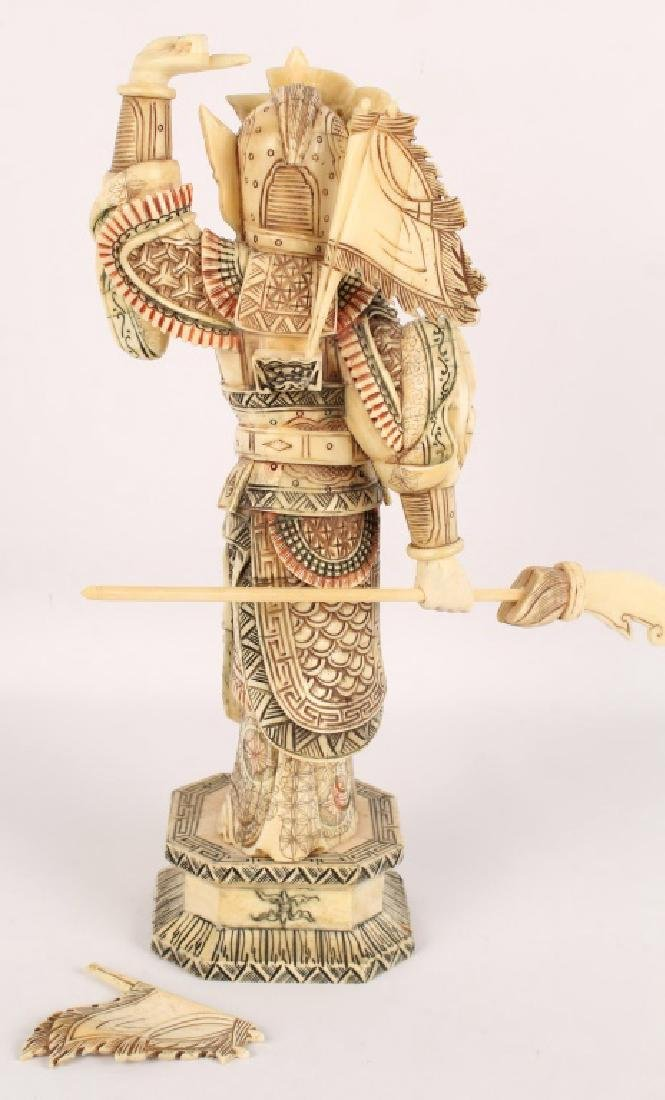 CHINESE BONE OVER WOOD HUA MULAN STATUETTE - 4