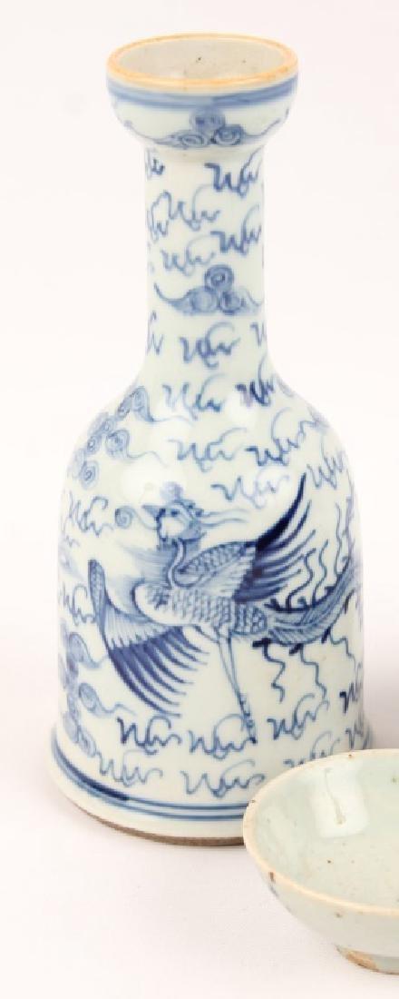 JAPANESE BLUE & WHITE PORCELAIN SAKE BOTTLE & CUPS - 2