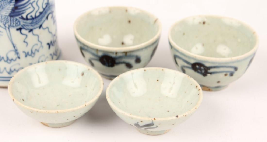 JAPANESE BLUE & WHITE PORCELAIN SAKE BOTTLE & CUPS - 3