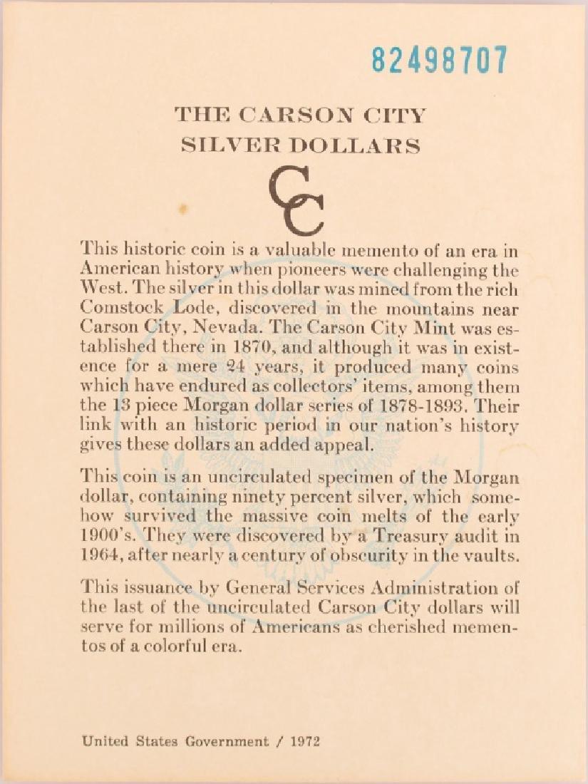 1882 CC CARSON CITY GSA MORGAN SILVER DOLLAR COIN - 4