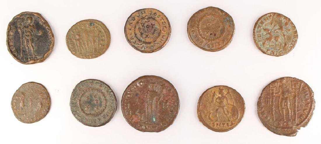 10 MIXED ANCIENT GREEK & ROMAN COPPER COINS - 7