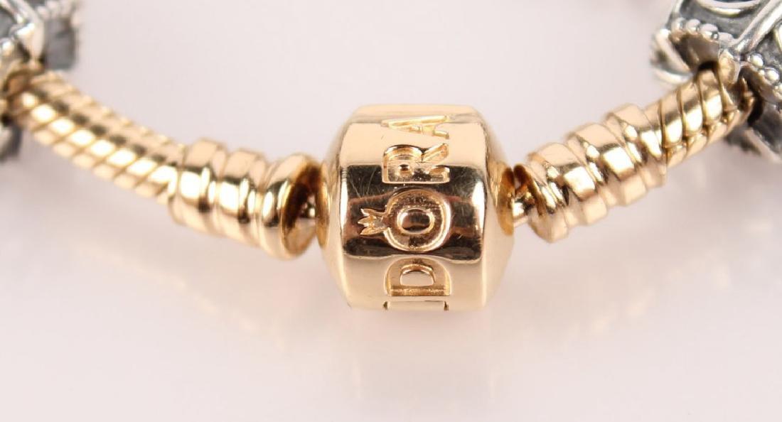 PANDORA 14K GOLD BRACELET W/ STERLING CHARMS - 3