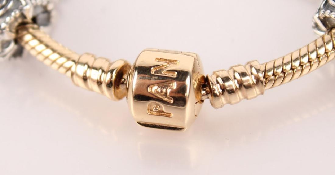 PANDORA 14K GOLD BRACELET W/ STERLING CHARMS - 4