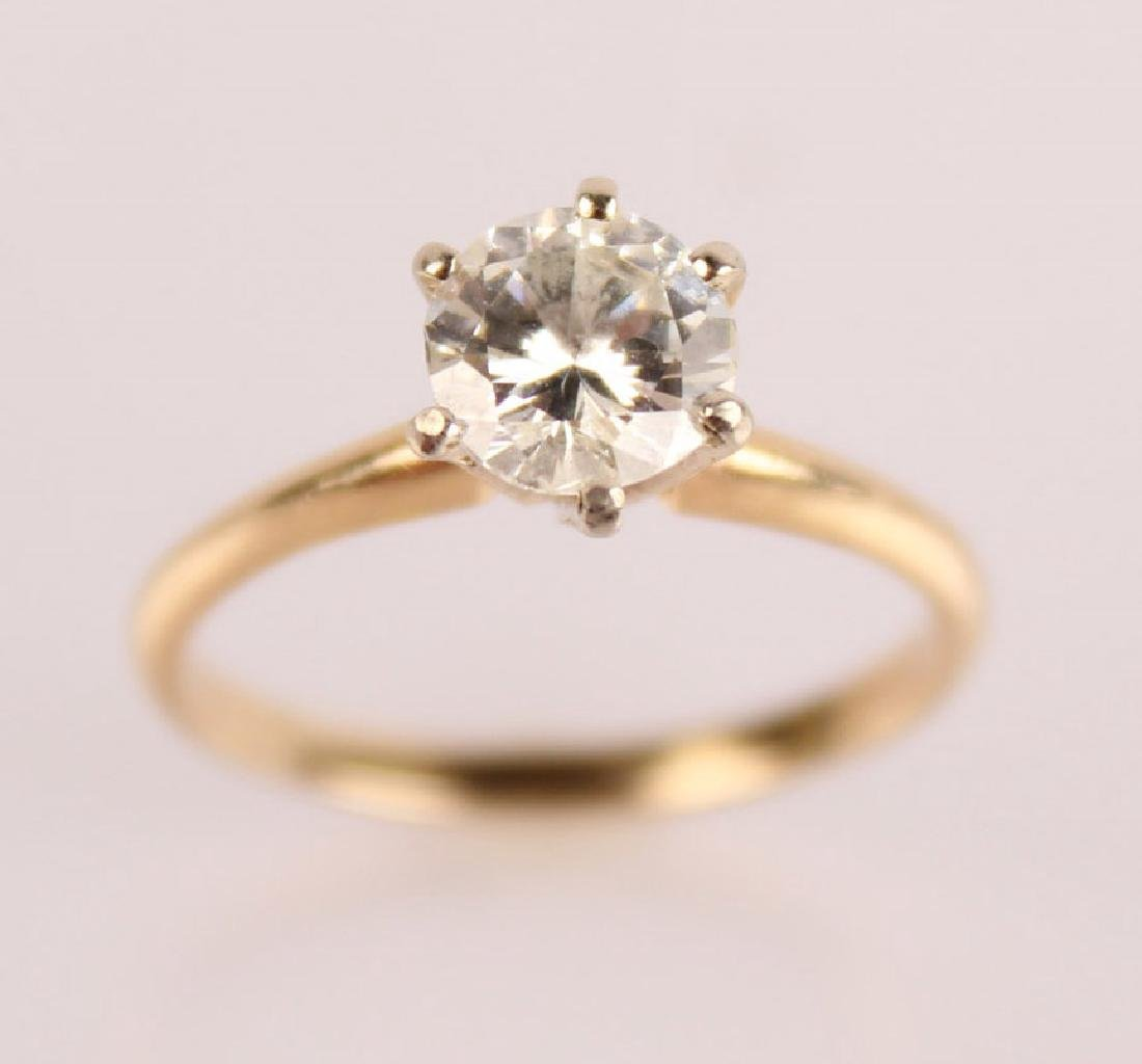 LADIES 14K YELLOW GOLD .975 CT DIAMOND SOLITAIRE