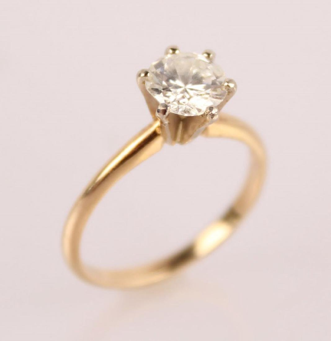 LADIES 14K YELLOW GOLD .975 CT DIAMOND SOLITAIRE - 2