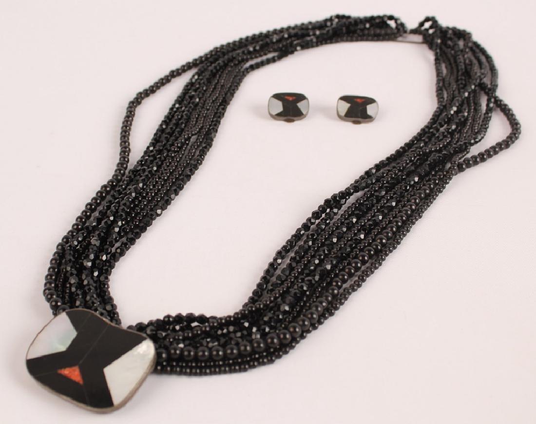 CELIA SEBIRI LADIES BLACK JADE NECKLACE & EARRINGS