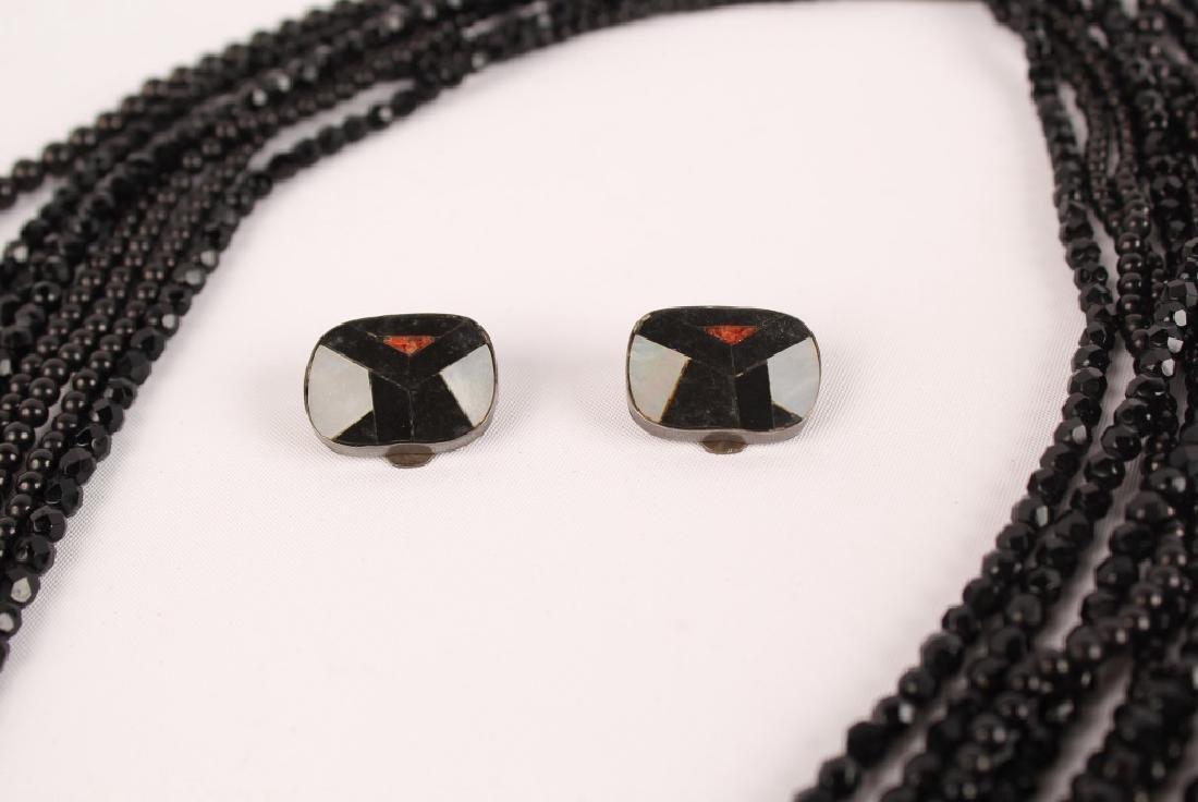 CELIA SEBIRI LADIES BLACK JADE NECKLACE & EARRINGS - 3