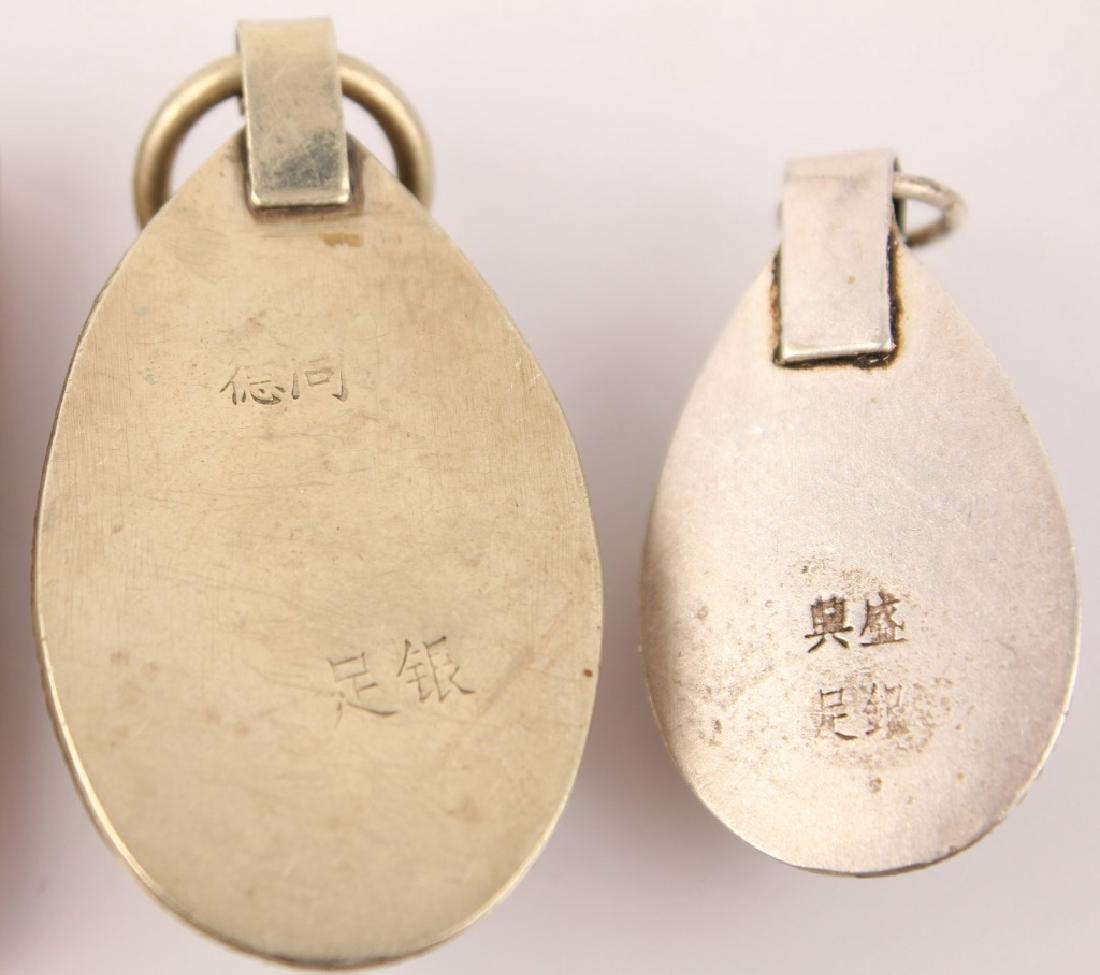 3 SILVER CHINESE PENDANTS--JADE & SOFTSTONE - 6