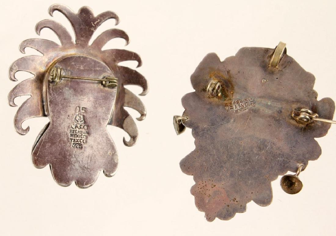 3 STERLING SILVER MEXICAN FACE BROOCHES - 3