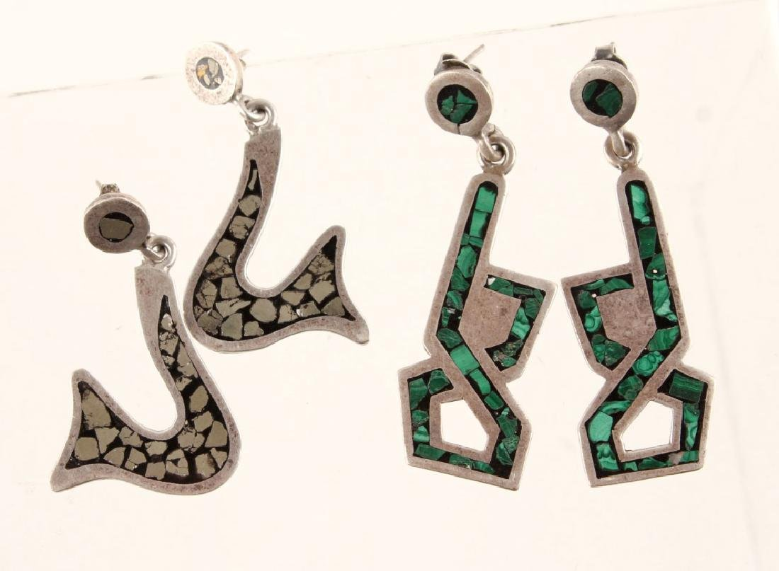 2 PAIRS OF TAXCO CARLOS SIGNED STERLING EARRINGS