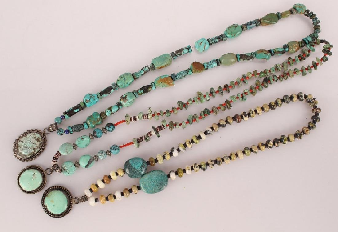 3 TURQUOISE & STERLING BEADED NECKLACES