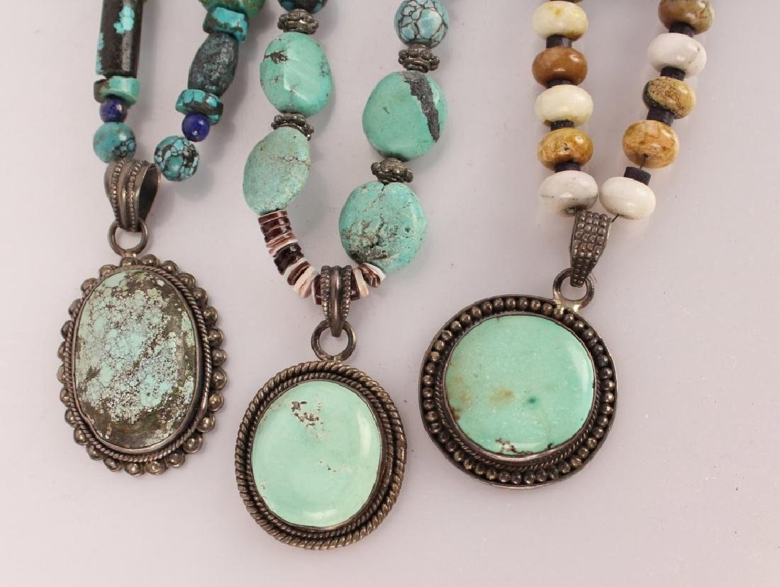 3 TURQUOISE & STERLING BEADED NECKLACES - 2