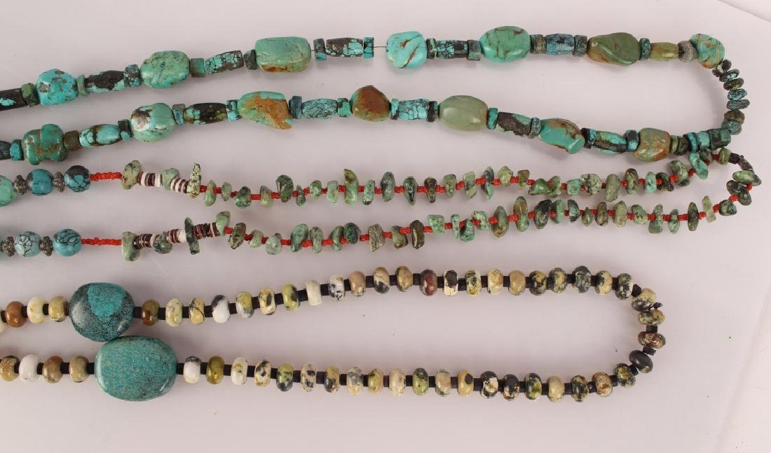 3 TURQUOISE & STERLING BEADED NECKLACES - 3