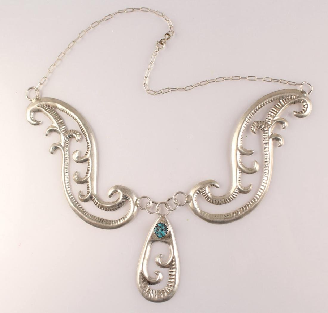 GILBERT ORTEGA STERLING SILVER TURQUOISE NECKLACE