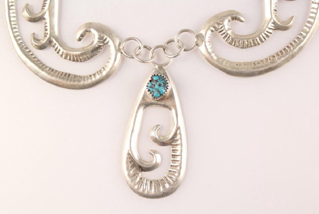 GILBERT ORTEGA STERLING SILVER TURQUOISE NECKLACE - 2