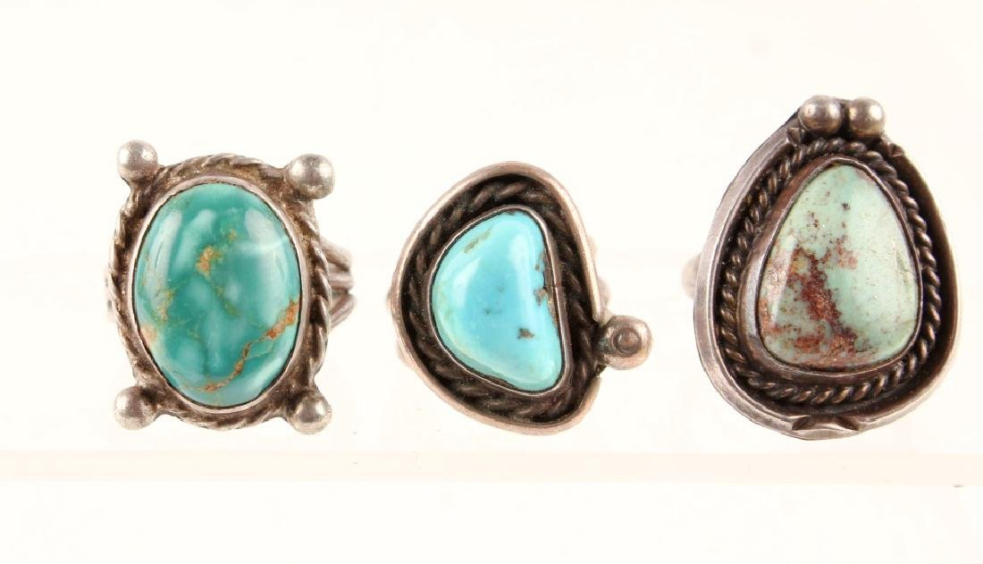 3 LADIES STERLING SILVER TURQUOISE FASHION RINGS
