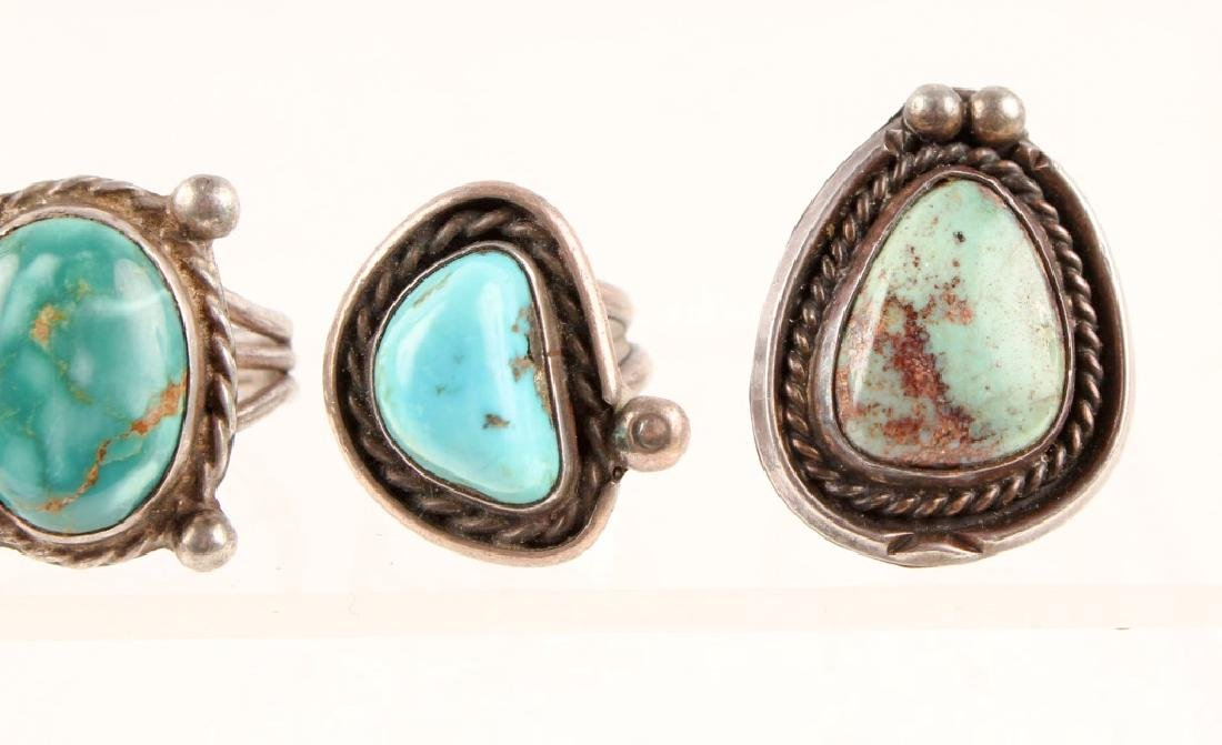 3 LADIES STERLING SILVER TURQUOISE FASHION RINGS - 2