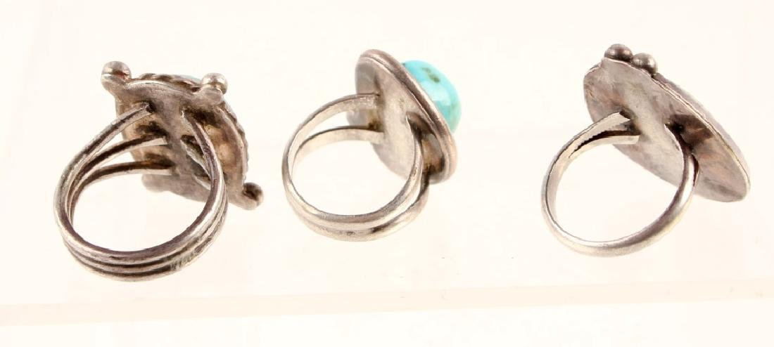 3 LADIES STERLING SILVER TURQUOISE FASHION RINGS - 3