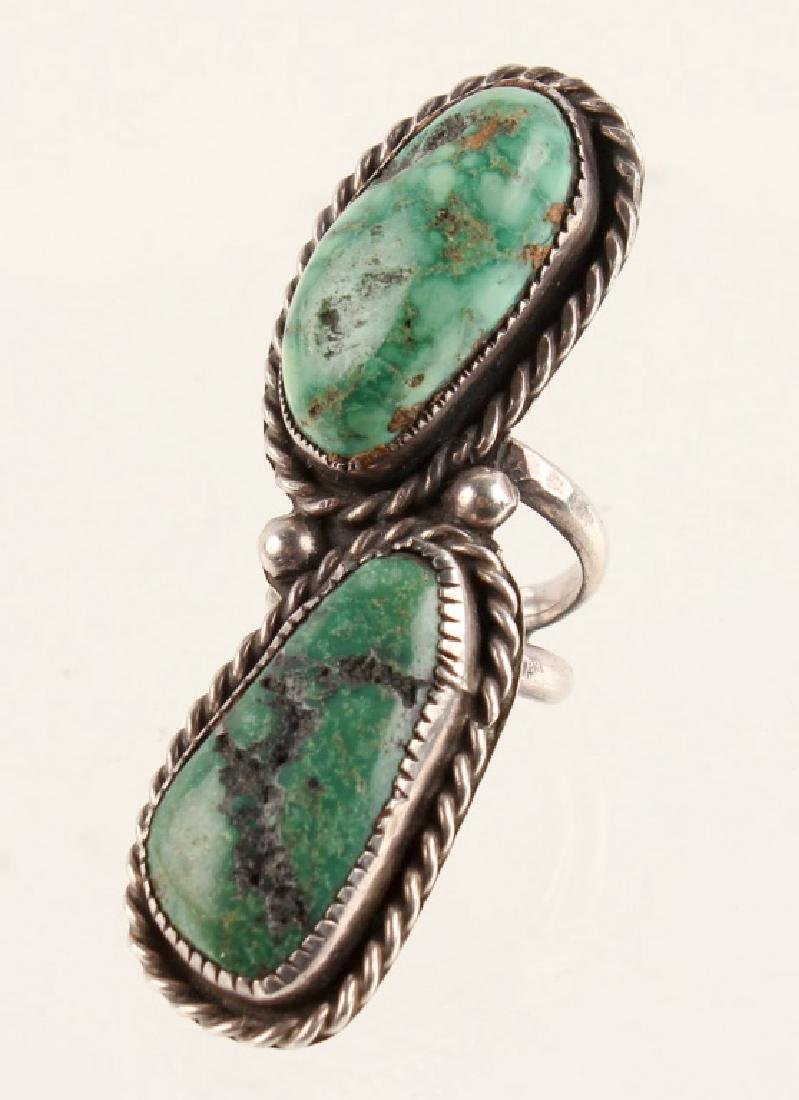 STERLING SILVER GREEN TURQUOISE RING