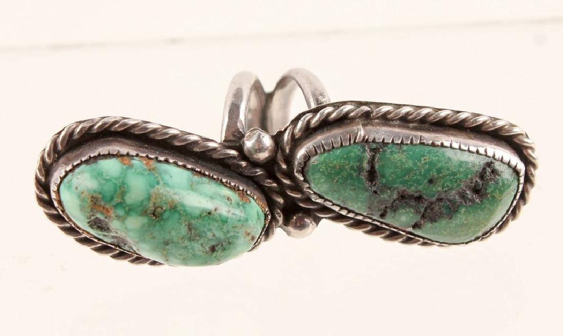 STERLING SILVER GREEN TURQUOISE RING - 3