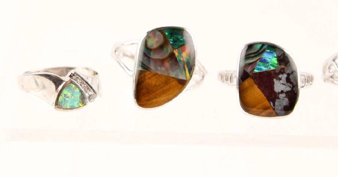 5 STERLING SILVER GILSON OPAL RINGS - 2