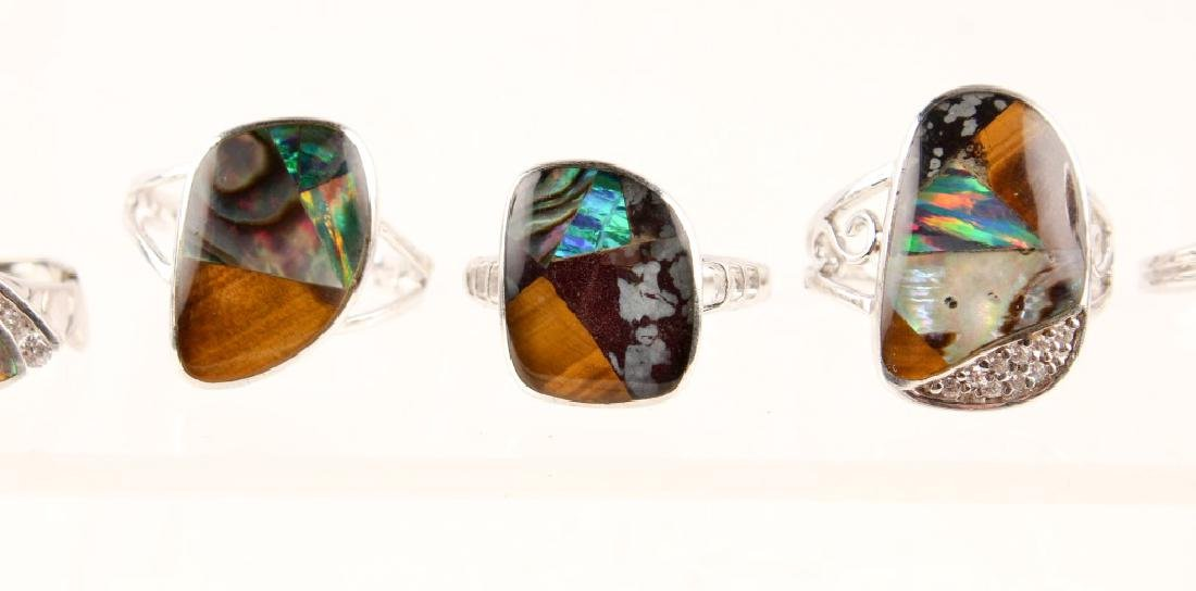 5 STERLING SILVER GILSON OPAL RINGS - 3