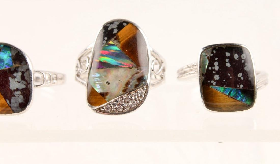 5 STERLING SILVER GILSON OPAL RINGS - 4