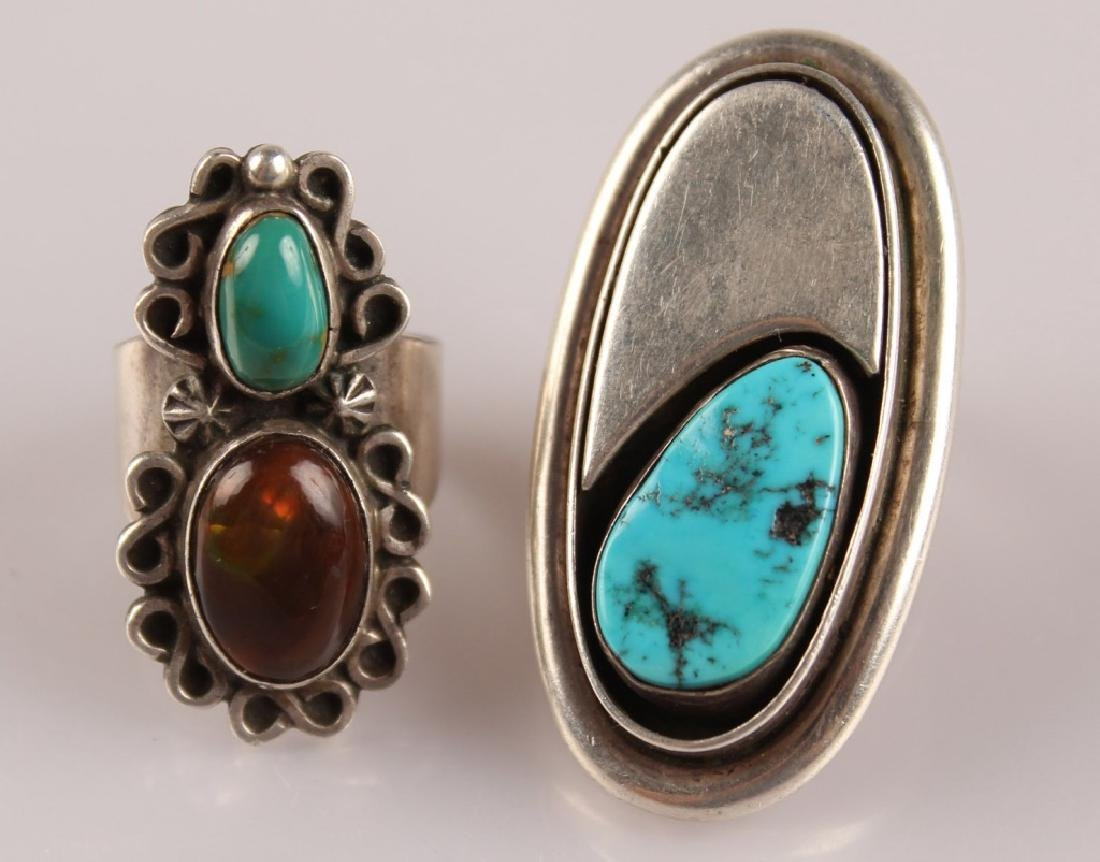 2 STERLING RINGS--TURQUOISE & AGATE SIGNED