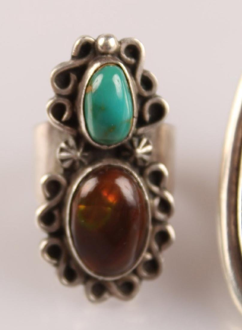 2 STERLING RINGS--TURQUOISE & AGATE SIGNED - 2