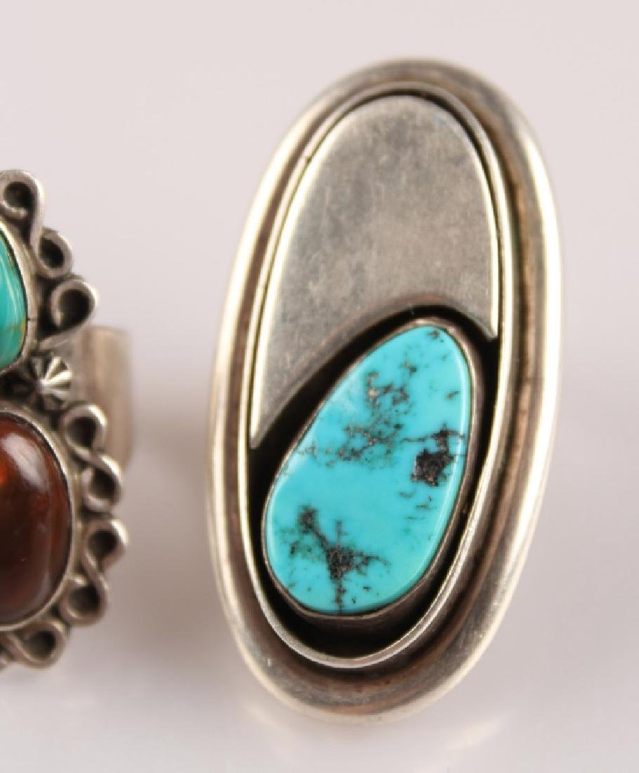 2 STERLING RINGS--TURQUOISE & AGATE SIGNED - 3