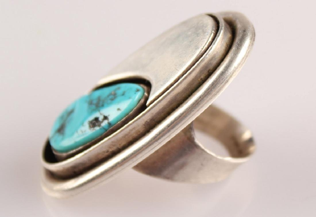 2 STERLING RINGS--TURQUOISE & AGATE SIGNED - 4