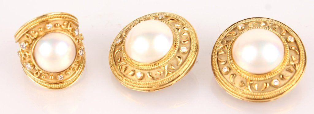 DESIGNER 18K YELLOW GOLD MABE PEARL & DIAMOND SET