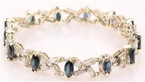 LADIES 14K WHITE GOLD DIAMOND SAPPHIRE BRACELET